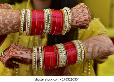Bride's chura ceremony in wedding