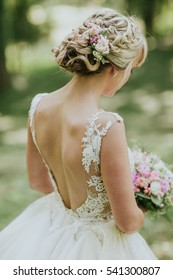 bride's hair and flowers