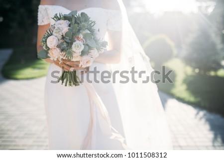 Brides Hands Wedding Bouquet Eucalyptus Stock Photo Edit Now