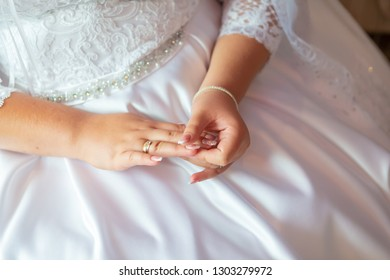 bride's manicure.Hands of bride place for text