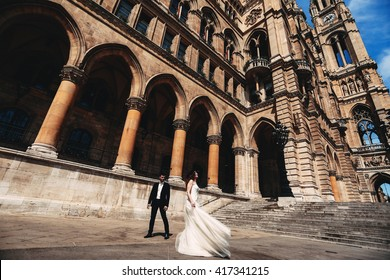 Brides are near historical buildings