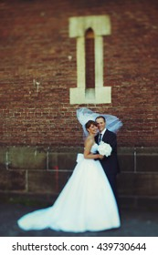 Bride's veil covers groom's head while wind blows along them