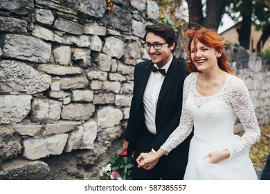 The brides walking along street