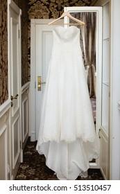 Bride's wedding dress. Bridal accessories