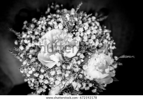 Brides Wedding Lavender White Flower Bouquet Objects