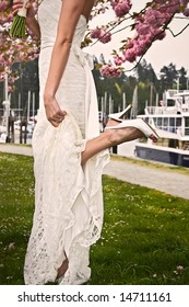 A brides white dress and shoes