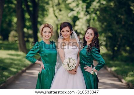 Bridesmaids Along Bride Wedding Posing Stock Photo Edit Now