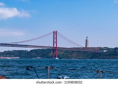 Bridge of 25 April on the rio tejo in Lisbon Protugal, 25 de Abril Bridge