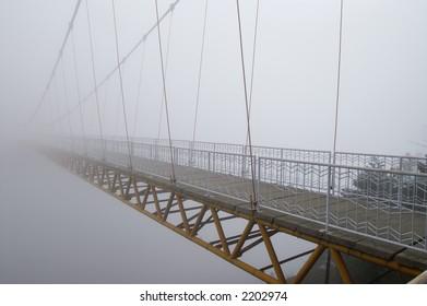 bridge across canyon, in China's famous beauty spot Lushan