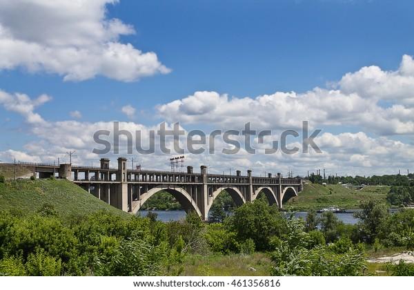 bridge across the Dnieper River in Kiev, Ukraine