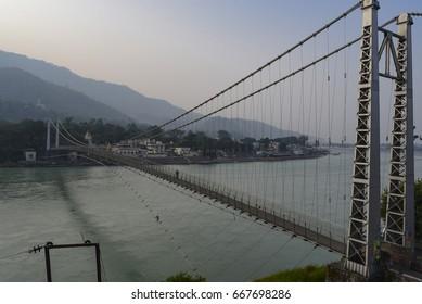 Bridge across the Ganges River in Rishikesh, India