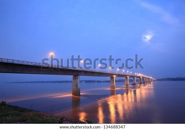 Bridge across the Mekong River. Thai-Lao friendship bridge, Thailand