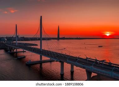 A bridge across the river. A large bridge in St. Petersburg.