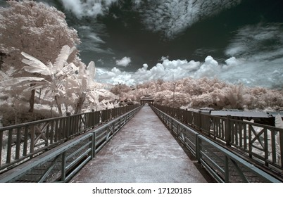 Bridge across the river ,  Thailand taken in Near Infrared