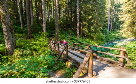 the bridge across the water falls,scenic view of beautiful Sol Duc water fall in Olympic national park on summer time,Washington State.USA.