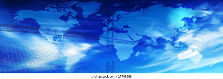 Bridge across the world connotating Link...