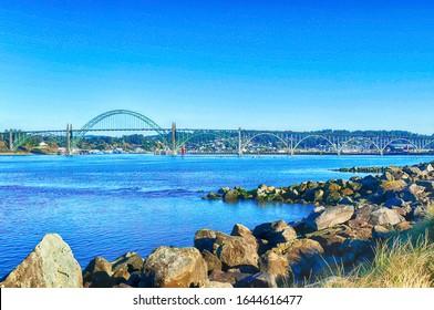 Bridge across Yaquina Bay seen from South jetty,   Newport, Oregon