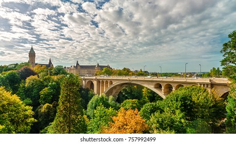 The bridge of Adolf (New Bridge) - a bridge in the city of Luxembourg, (built 1900-1903). The bridge connects Upper and Lower Town: two parts of Luxembourg. Luxembourg. Luxembourg.