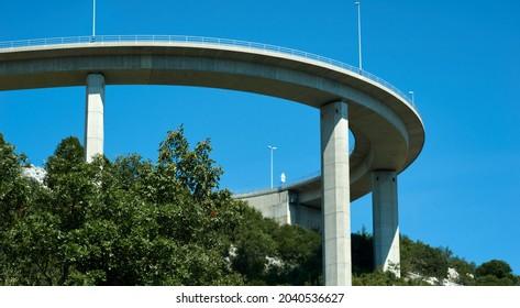Bridge against the blue sky. Motorway flyover near Krk island in Croatia. Selective focus. High quality photo
