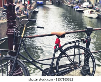 Bridge in Amsterdam, typical bicycle Netherlands