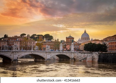 Bridge of Angles, Tiber and St Peter Basilica in Vatican, Rome, Italy