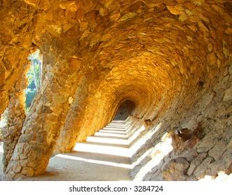 Bridge in Antoni Gaudi's Park Guell in Barcelona