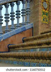 Bridge architectural details at Plaza de Espana, Seville