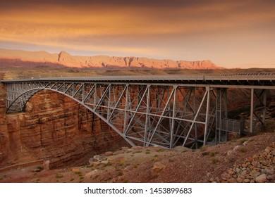 Bridge at Arizona and Utah border near Page Arizona across Colorado river.