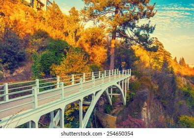 Bridge in autumn botanical garden in Tbilisi, Georgia, Europe