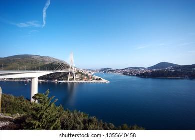 The bridge background city of Split Croatia