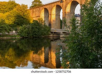 Bridge. Banks of the Mayenne river, City of Laval, Mayenne, Pays de Loire, France. August 5, 2018