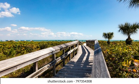 The bridge to the beach of Sanibel Island, Florida, USA