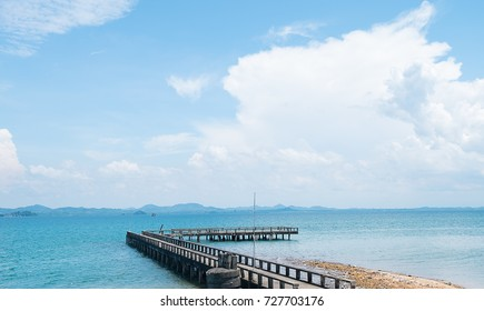 The bridge with beautiful blue sea and sky in Thailand.