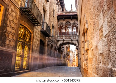 Bridge between buildings in Barri Gotic quarter of Barcelona, Spain