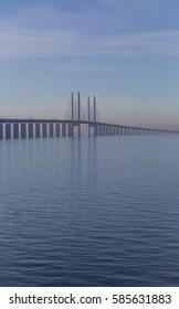 The bridge between Copenhagen Denmark and Malmo Sweden, the Oresund bridge, when spring light