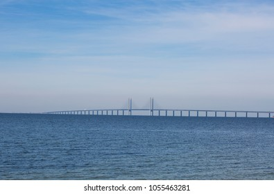 The bridge between Denmark and Sweden, Oresundsbron, from cape Klagshamn on the Swedish side