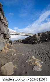 Bridge between Europe and North America on Reykjanes Peninsula in Iceland.