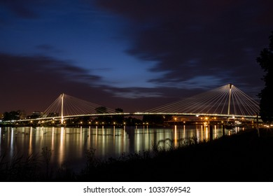 Bridge between Germany and France at night