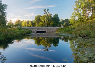 bridge between nine mile creek and normandale lake in hyland-bush-anderson lakes park reserve of bloomington minnesota