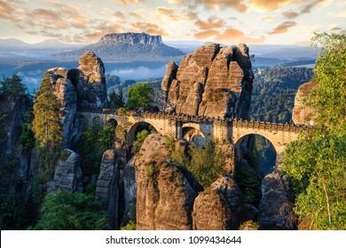 Bridge between rocks near Rathen, Germany, Europe Sachsische Schweiz