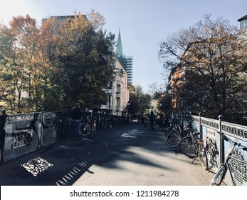 Bridge with bicycles in the city