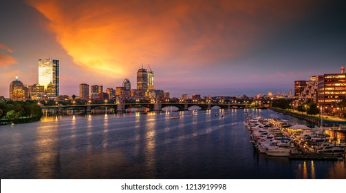 Bridge in Boston city with night and sunrise morning sky, Boston, USA, United stages of America