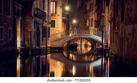 Bridge by night in Venice