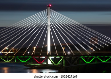 bridge by night in Warsaw, Poland