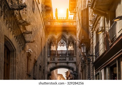 Bridge at Carrer del Bisbe in Barri Gotic, Barcelona. Spain