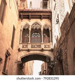 Bridge at Carrer del Bisbe in Barri Gotic, Barcelona. Gothic bridge