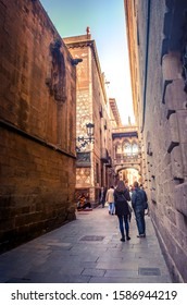 Bridge at Carrer delBisbe in Barri Gotic, Barcelona, Spain on March 20, 2019.