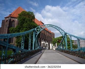 a bridge to the church in Wroclaw