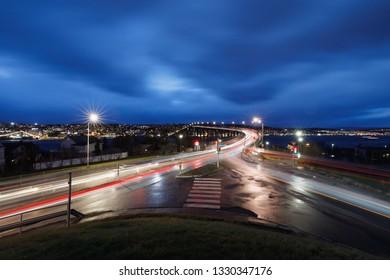 Bridge Tromsøbrua at Cirty Tromsø after sunset in winter, long time exposure