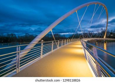 Bridge in the city of Dessau at dusk